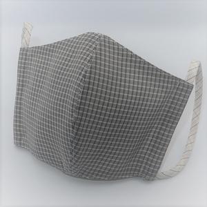 東郷オリジナル/夏大島シルクのクールマスク(アッシュグレーチェック)