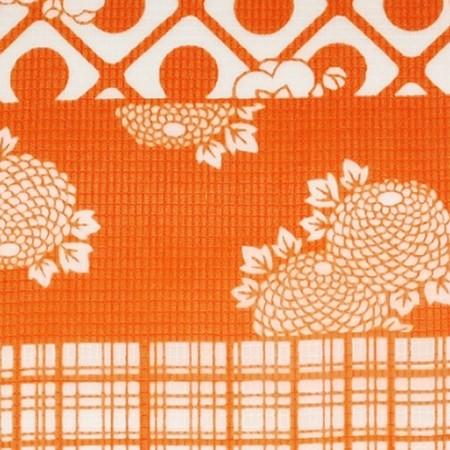 (浴衣) 絹紅梅/横段に花々と幾何学模様(オレンジ)