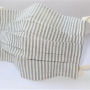 東郷オリジナル/綿絹織物のエチケットマスク(ストライプモノトーン)