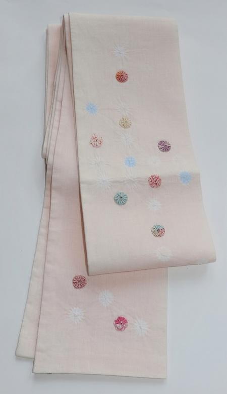 絞り麻アップリケ・半幅帯 / 薄ピンク