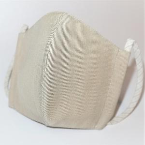 東郷オリジナル/夏大島シルクのクールマスク(ベージュと濃紺の粋筋)
