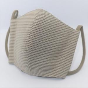 東郷オリジナル/夏大島シルクのクールマスク(グレー&ベージュの横縞)